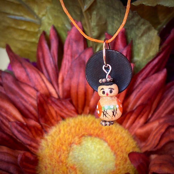 Vintage Black Button & Doll Pendant Necklace