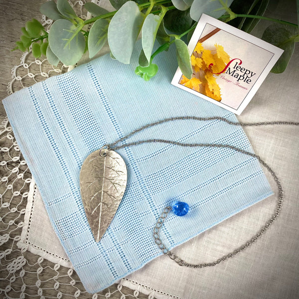 Hand Crafted Silver Tone Leaf with Antique Blue Glass Button Charm