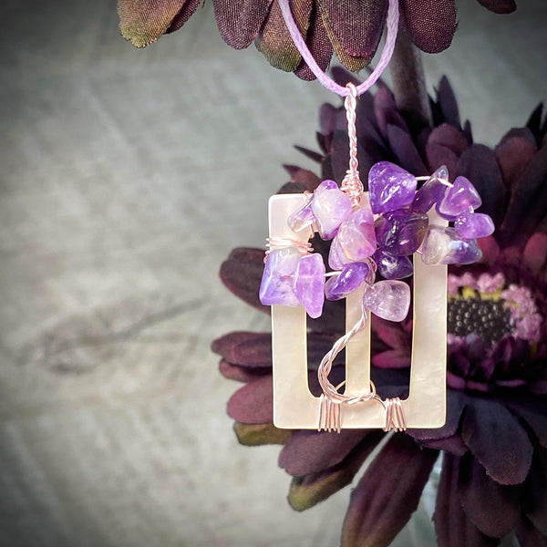 Amethyst Tree Pendant on Antique Mother-of-Pearl Buckle