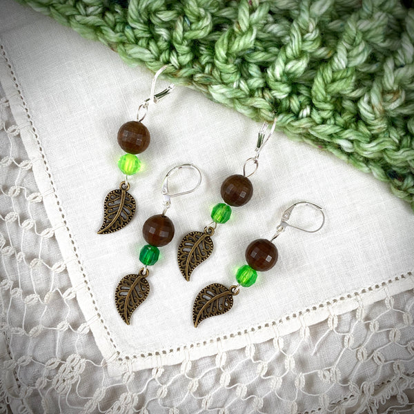 Vintage Autumn Leaves with Brown & Green Bead Crochet Stitch Markers