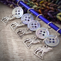 Silver Wolves & Mother-of-Pearl Vintage Button Knitting Stitch Markers for Worsted Weight Yarn