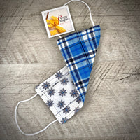 Reversible Cotton Face Mask (with nose wire) - Snowflakes/Blue Plaid