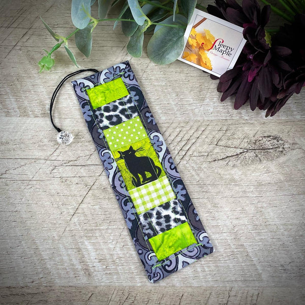Quilted Kitty Bookmark with Vintage Fabric
