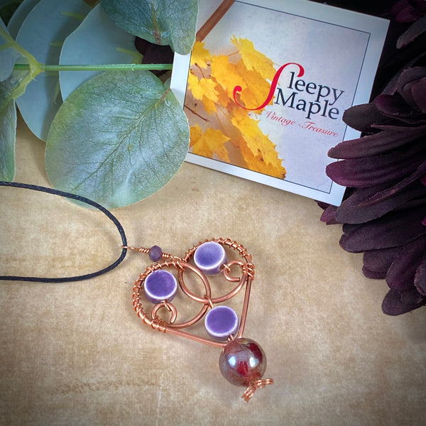 Copper Heart Pendant with Vintage Glass Bead Dangle