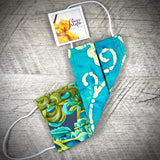 Reversible Cotton Face Mask (with nose wire) - Teal Mums Floral/Aqua Batik