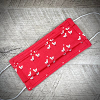 Reversible Cotton Face Mask (with nose wire) - Valentine Duckies /Elegant Hearts