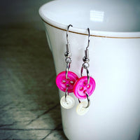 Pink & White Mother-of-Pearl Vintage Button Dangle Earrings