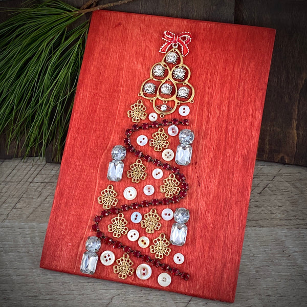 Vintage Jewelry Christmas Tree Mini Panel