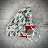 Reversible Cotton Face Mask (with nose wire) - Star Topped Xmas Trees/Birds on Vintage Red