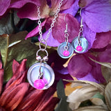 Smoky Mother of Pearl Button Pendant and Earrings with Pink Crackle Glass Beads