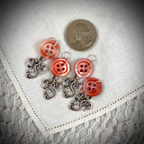 Dragons & Mother-of-Pearl Vintage Button Knitting Stitch Markers for Sock Yarn