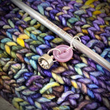 Rhinestone & Purple Pearlized Vintage Button Knitting Stitch Markers