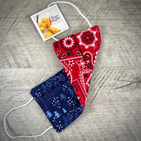 Reversible Cotton Face Mask (with nose wire) - Blue Santa/Red Paisley