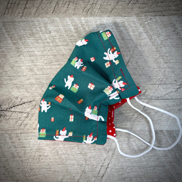 Reversible Cotton Face Mask (with nose wire) - Green Gift Kitty/White Polka Dots on Red