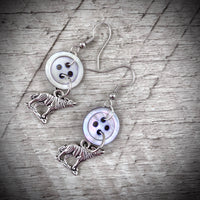 Silver Wolves & Mother-of-Pearl Vintage Button Dangle Earrings
