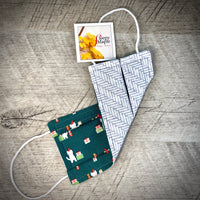 Reversible Cotton Face Mask (with nose wire) - Green Gift Kitty/Grey Geometric