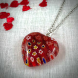Vintage Cherry Red Millefiori Glass Heart Pendant with Sterling Silver Chain