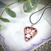 Copper Heart Pendant with Mini Vintage Purple Glass Accents