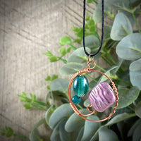 Copper Circle Pendant with Vintage Green & Purple Glass Accents