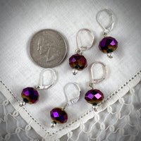 Vintage Purple Faceted Opalescent Crystal Bead Crochet Stitch Markers