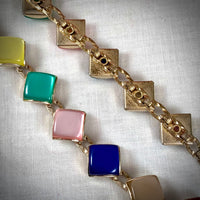 Rainbow Moonglow Lucite Squares Vintage Choker Necklace
