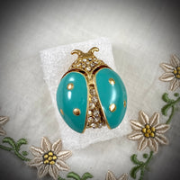 Vintage Teal and Rhinestone Ladybug Brooch
