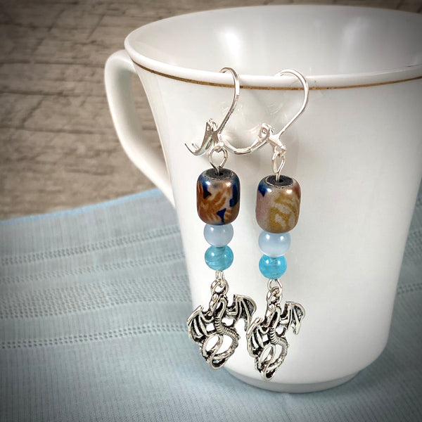 Silver Dragon Charm & Vintage Moonglow Bead Dangle Earrings