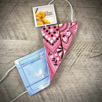 Reversible Cotton Face Mask (with nose wire) - Bunny & Birdy/Vintage Pink Bandana
