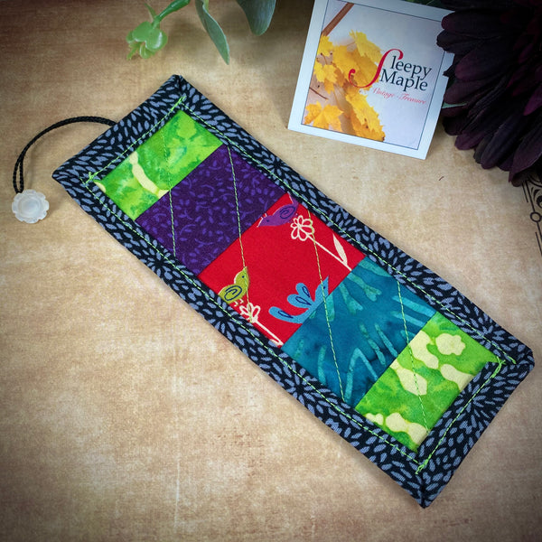 Quilted Birdy Bookmark with Vintage Fabric