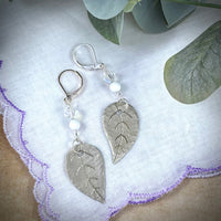 Hand Crafted Silver Tone Leaf Earrings with Vintage Aurora Borealis Crystals and Milk Glass Beads