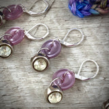 Rhinestone & Purple Pearlized Vintage Button Crochet Stitch Markers