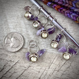 Amethyst Chip & Vintage Rhinestone Button Knitting Stitch Markers