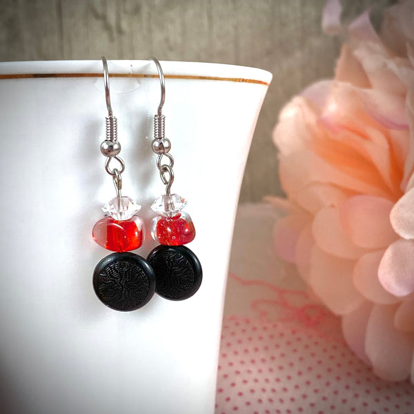 Black Tagua Nut Vintage Button Dangle Earrings with Red Glass Bead Accent