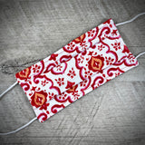 Reversible Cotton Face Mask (with nose wire) - Red Trellis/Elegant Hearts