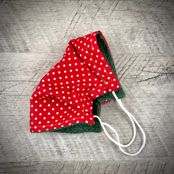 Reversible Cotton Face Mask (with nose wire) - White Polka Dots on Red/Dark Green Flannel