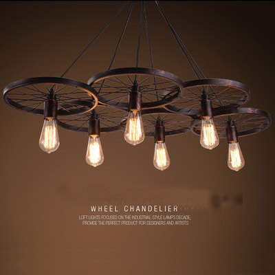 Retro industrial iron wheel chandelier