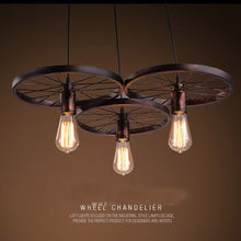 Load image into Gallery viewer, Retro industrial iron wheel chandelier