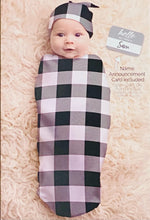 Load image into Gallery viewer, Cutie Cocoon and Hat Set - Gingham Black & White