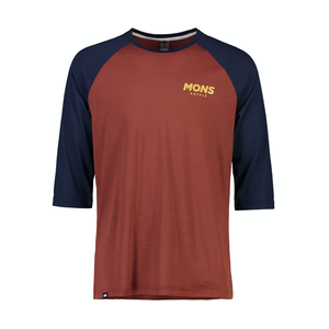 JERSEY MONS ROYALE MENS TARN FREERIDE RAGLAN 3/4 2122 DEEP NAVY/CHOCOLATE