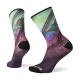 SOCKS SMARTWOOL WOMENS PHD CYCLE ULTRA LIGHT MOUNTAIN PRINT CREW 2021 MEADOW MAUVE