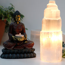 Load image into Gallery viewer, Natural Selenite Tower Lamp Turned On