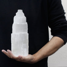 Load image into Gallery viewer, Customer Holding Natural Selenite Tower Lamp