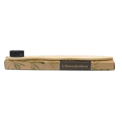 Bamboo Toothbrush - Charcoal Medium Soft on box