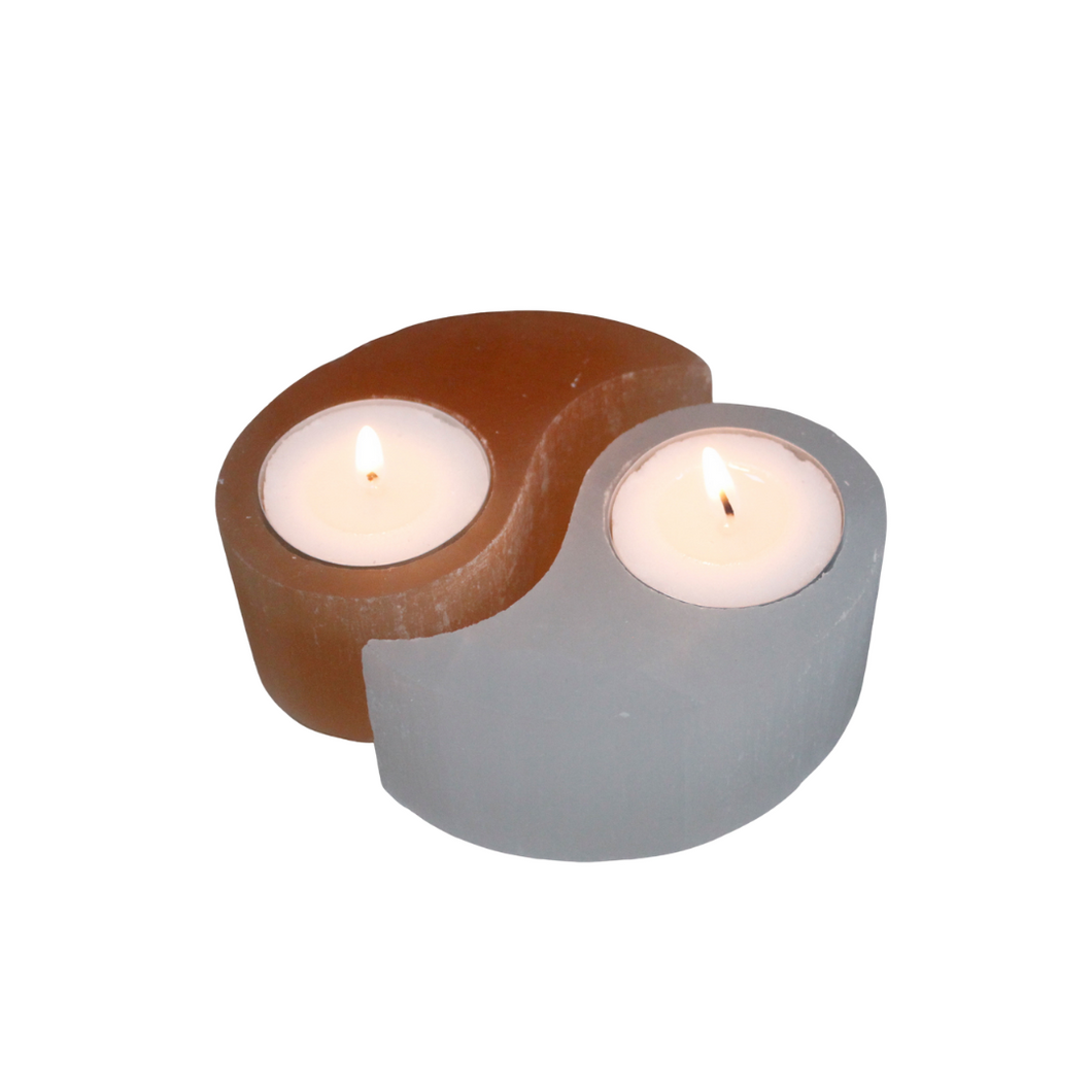 Yin + Yang Selenite Tealight Holder
