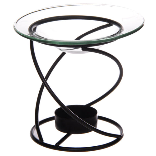 Thin Spiral Oil Burner with Glass Dish