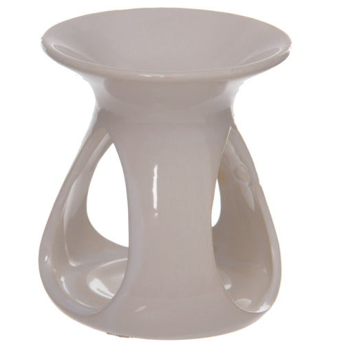 Abstract high gloss white ceramic oil burner