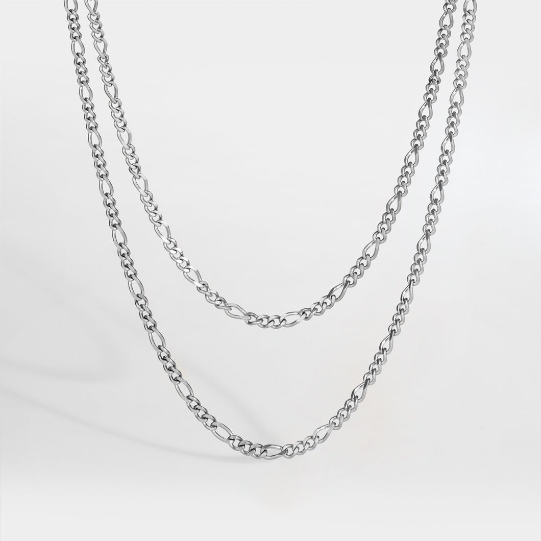 NL Double Antique chain - Silver tone
