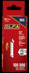 OLFA LB/CP100 18mm Heavy Duty Snap-Off Blades Contractor Pack. Shown in package.