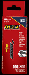 OLFA 18mm LBB Ultra-Sharp Black Snap Blade shown in package. Pack of 100 (800 edges)