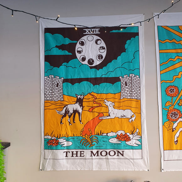 The Moon Tarot Printed Cotton Tapestry
